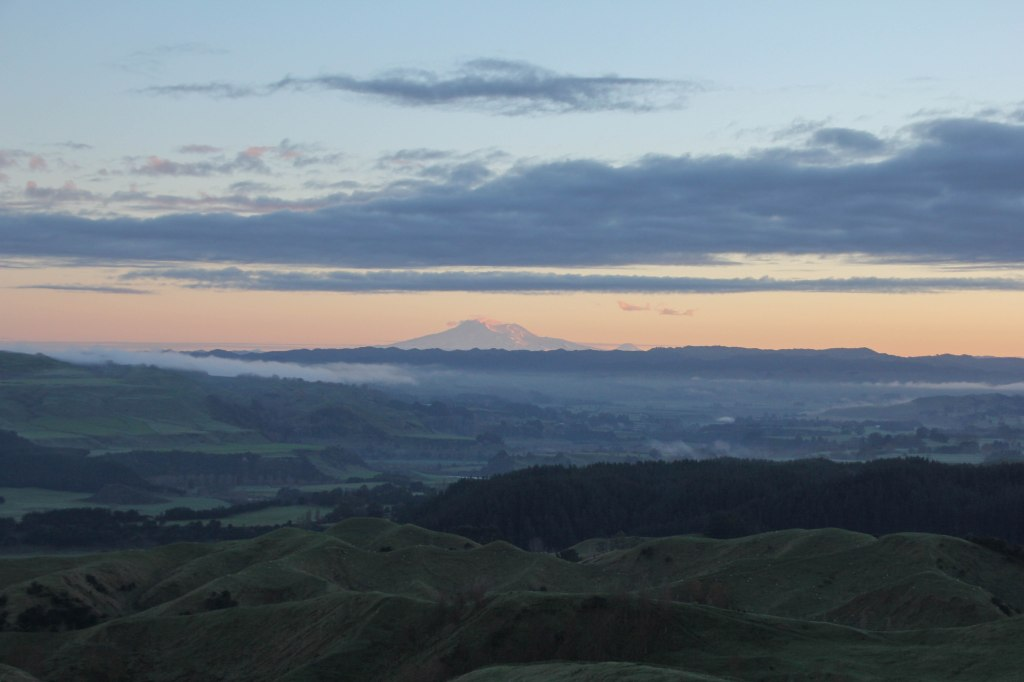 Because Mt Ruapehu is so very big, you can see it from very far away. Like this from over 100 miles, or 160 kilometres distant.