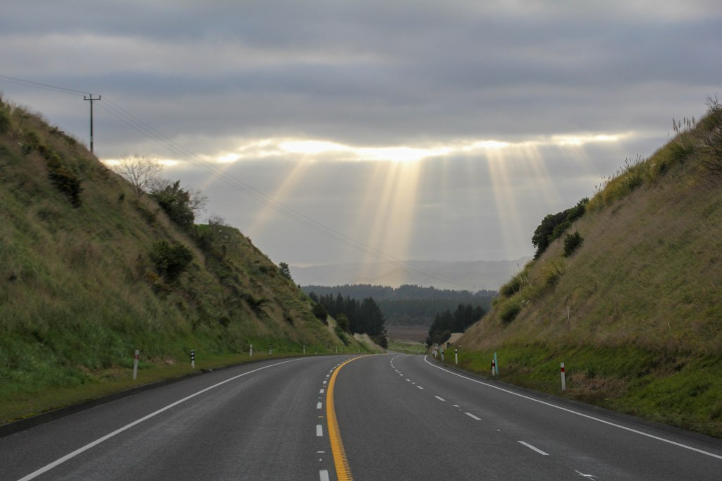 God rays over SH1 near Rata Straight first thing in the morning. 10x12 canvas $300