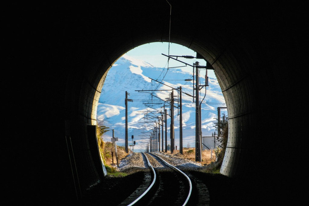 Peering through the rail underpass at Mt Ruapehu. Not much of a risk of being run over by a train in New Zealand.