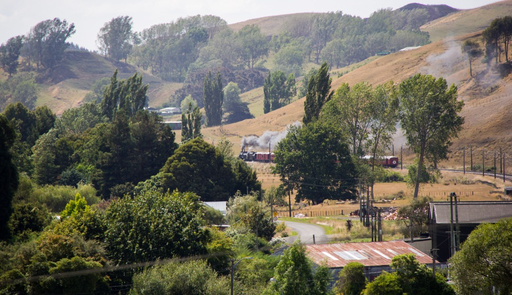 Steam train passing my house, out there,
