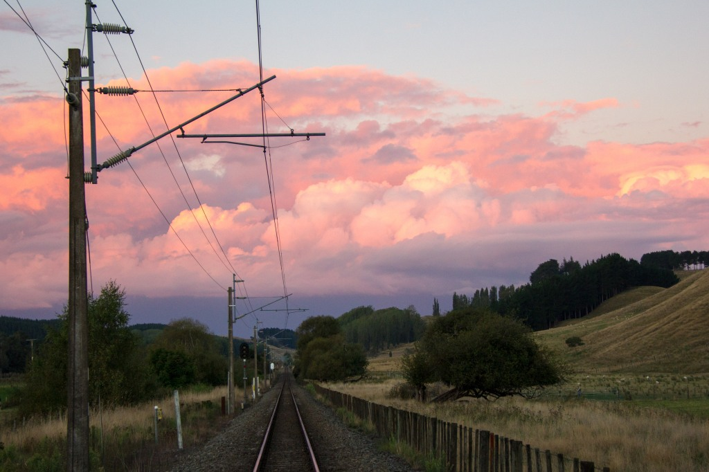 Looking up the line. The Main Trunk Line. New Zealands main rail line. From a crossing on a farmers land in the Rangitikei.