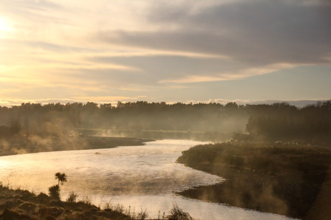 Rangitkei River. Steam off the water looks cool