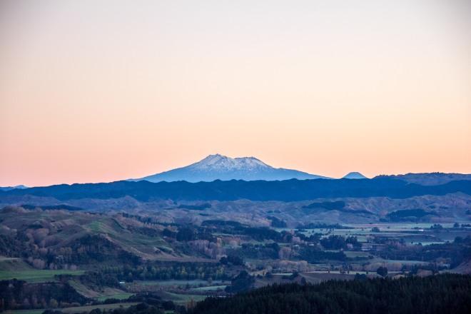 Mt's Ruapehu and Ngauruhoe, about 120 kilometres away