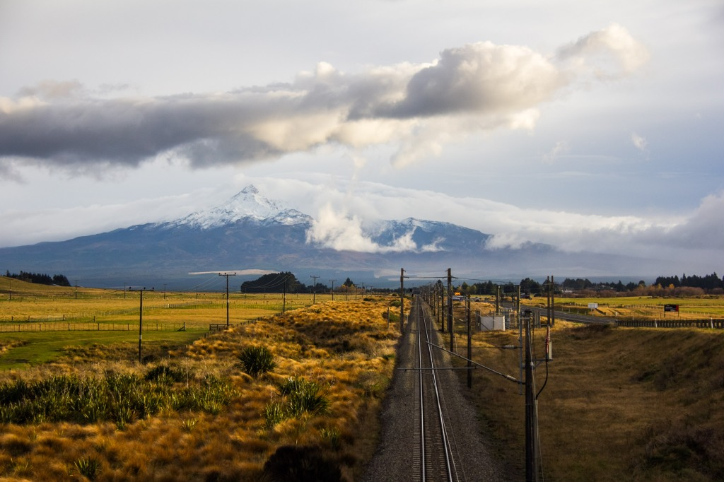 The New Zealand Main Trunk rail line, heading north towards Mt Ruapehu