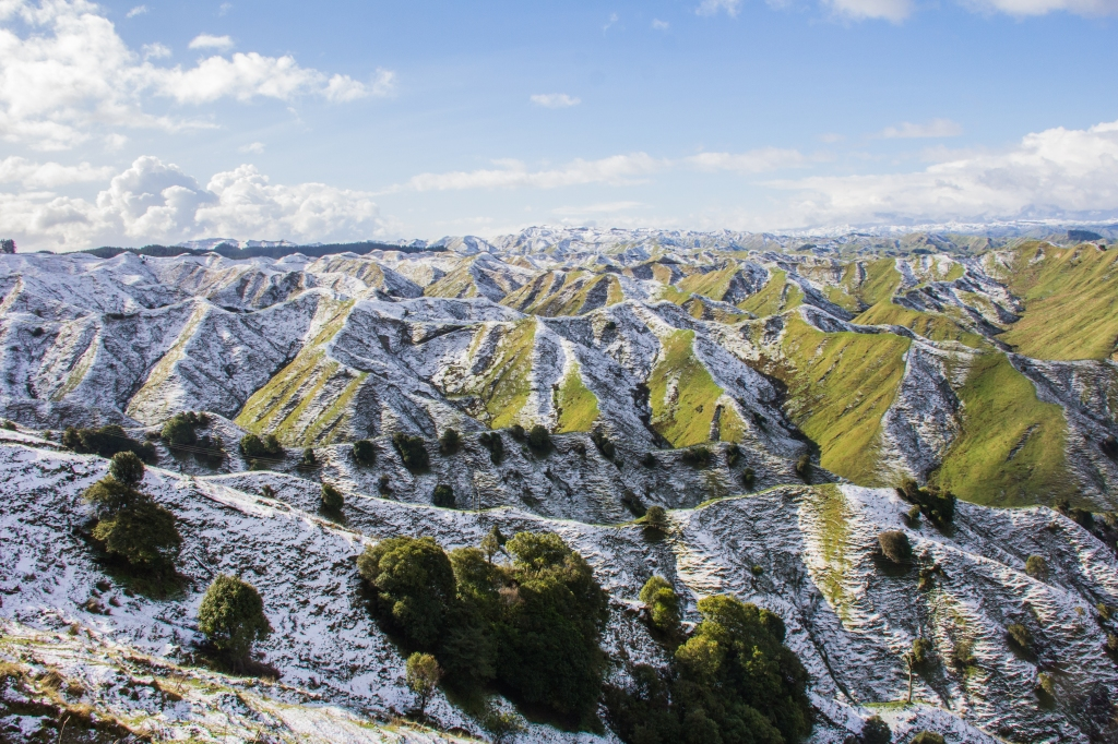 We had a light dusting of snow in the Rangitikei hill country, I loved how the shadowed side of these hills took longer to thaw giving this cool effect on the landscape