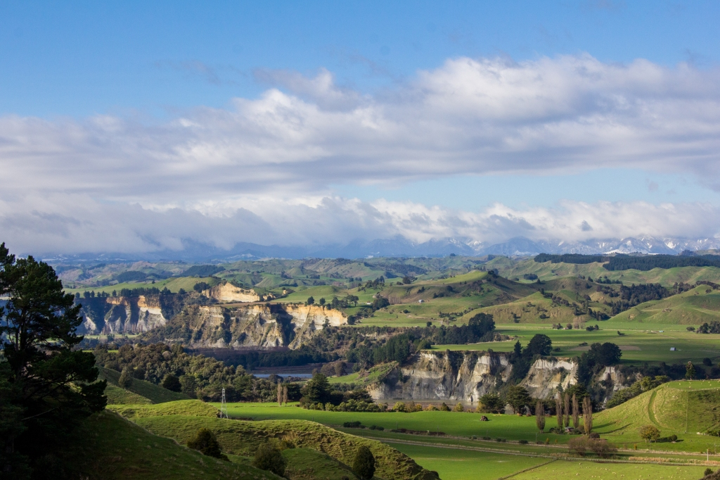 That's the mighty Rangitikei River Valley with a bit of snow on the Ruahine Ranges in the distance. Epic views across the lower North Island.