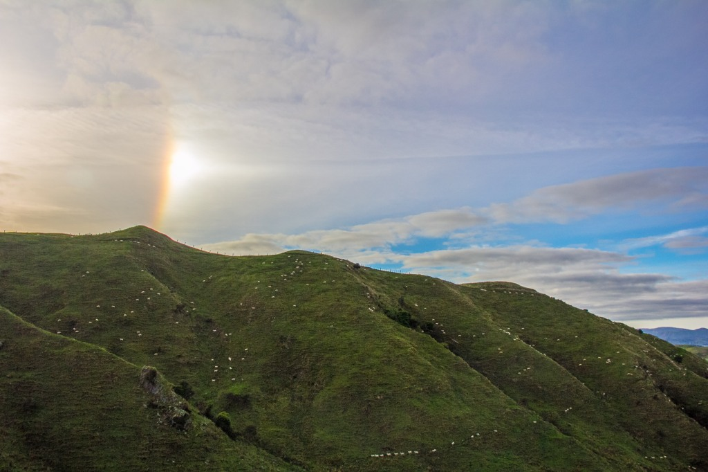 I have no idea what you might call that atmospheric effect. Like a reverse rainbow sort of thing. Seen above the Wairarapa Hill country