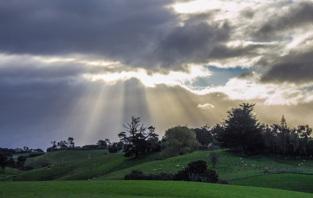 This is an unremarkable place in the Manawatu. Made interesting only by the sun striking through the clouds. I'm sure there is also lots of local history the local people are very proud of though.