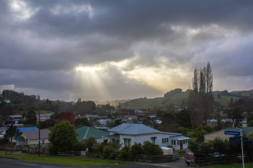I call these 'God rays', they are actually called 'Crepuscular Rays'. Which sounds meteorological rather than awesome. These are over the small Rangitikei town of Hunterville, which few would describe as awesome.
