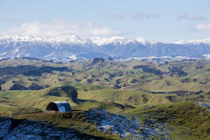 It's a hay barn, but I call it a high barn. Manawatu Hill country, Ruahine Ranges backdrop. Most people think the Manawatu is flat. Taken from the Waituna-Tapuae Road