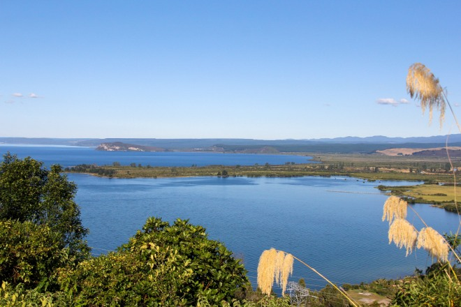 This is also Lake Taupo, looks pretty, can be catastrophic.