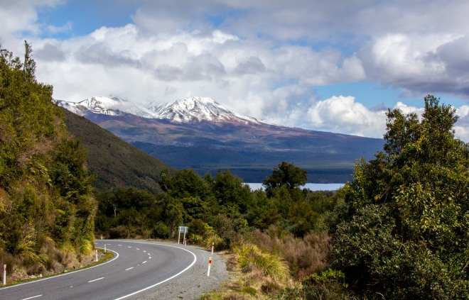 Classic Kiwi Road Trip shot, from beside the Te Ponanga Saddle Road. Which is a cool name for the road from Turangi to National Park, SH47.