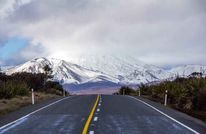 Mt Ngauruhoe is about to disappear under the clouds.