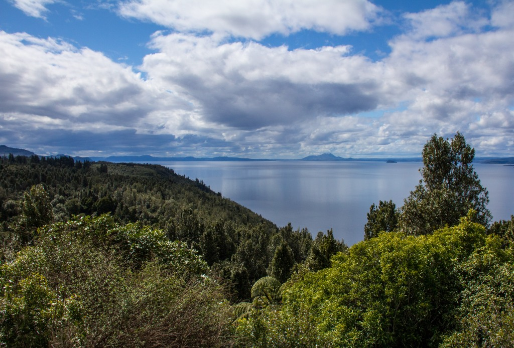 Lake Taupo is actually a giant volcanic crater, still, looks peaceful enough today.