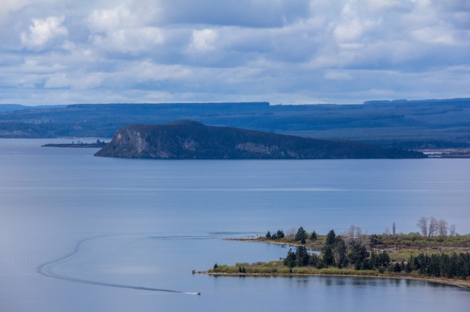 Boating on the crater of a super volcano sounds more dangerous than it looks, Southern end of Lake Taupo seen from SH32