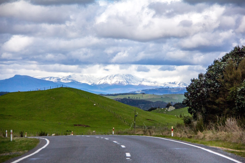 Road trip south, Eastern side of of Lake Taupo, SH32. 1st sighting of the Volcanoes of the central plateau.