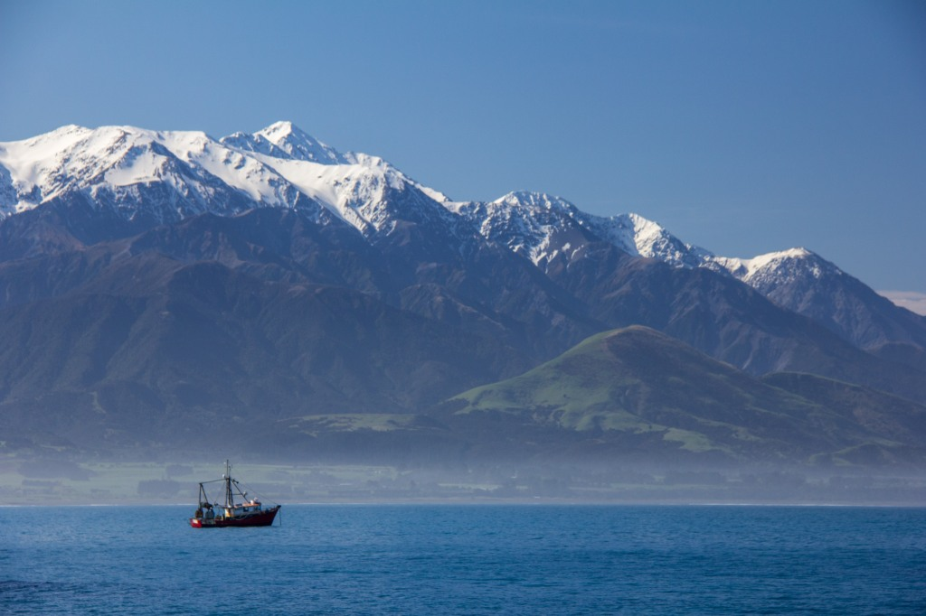 Fishing boat in front of the Kaikoura Ranges. New Zealandness at it's most scenic, with a fishing boat.