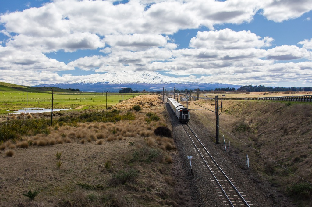 I like a train track heading towards a mountain. The title of this post made reference to mountains. That's the biggest one in the North Island. Mt Ruapehu. It's quite far from the sea.