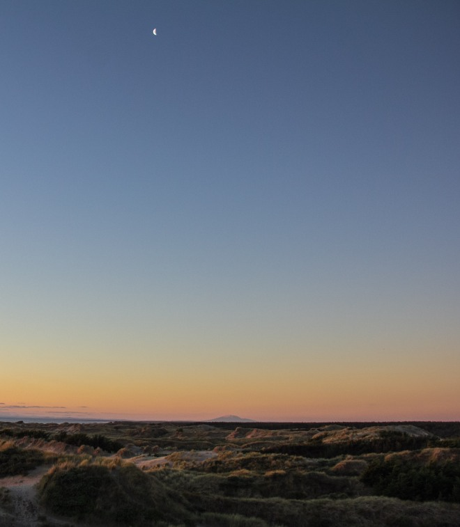 The moon, way up there, I know. But it's a big sky. Foxton Beach