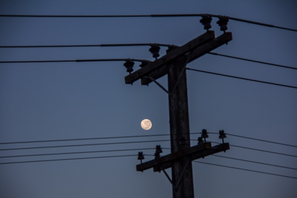 Power lines, moon, etc. Near Halcombe in the Manawatu