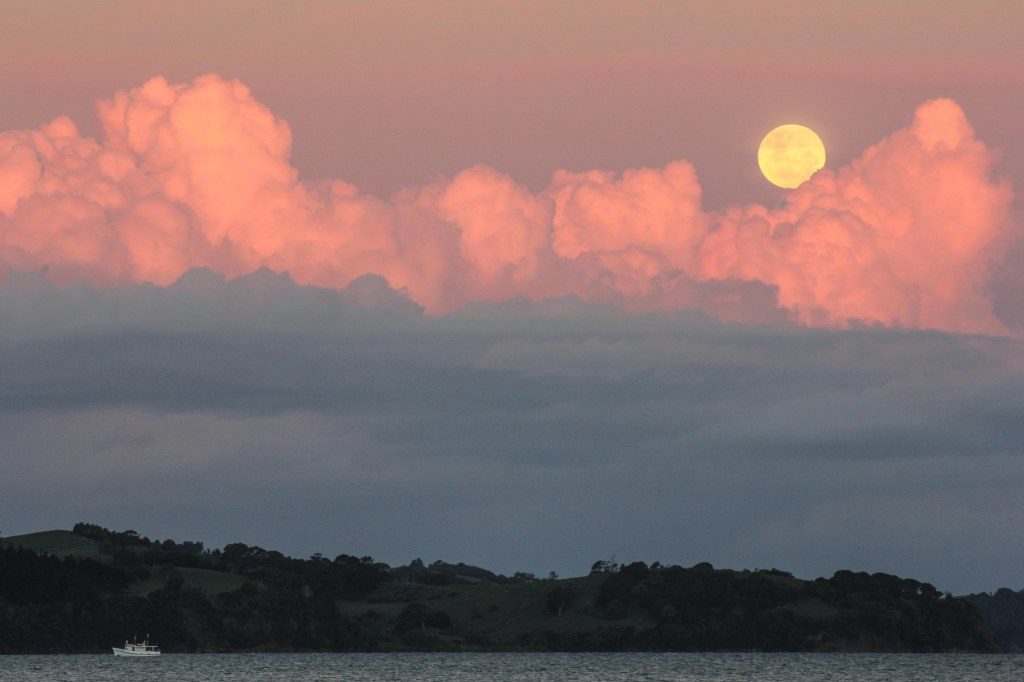 Amazing clouds and full moon. Kawau Bay.